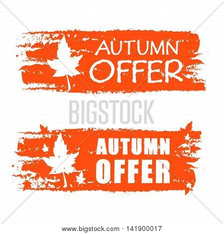 autumn offer - orange drawn banner with text and fall leaf business concept vector