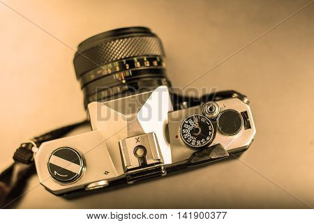 Photo Of Old Vintage Camera With Style Sepia.