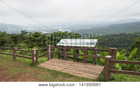 View point of nature landscape of mountain Mist with green plant in the morning with soft focus