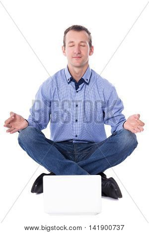 Middle Aged Business Man Sitting In Yoga Pose With Laptop Isolated On White