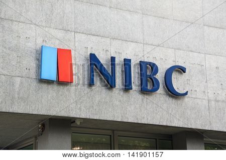 Den Haag Netherlands-august 9 2016: Letters NIBC on a wall NIBC Bank is a Dutch bank. The bank focuses on corporate and private clients.