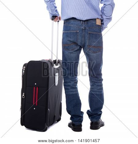 Back View Of Business Man Standing With Suitcase Isolated On White