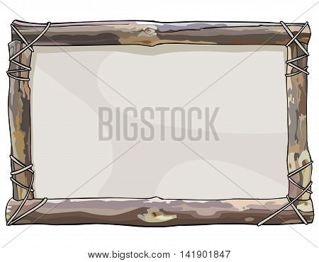 painted frame of wooden sticks bound with rope