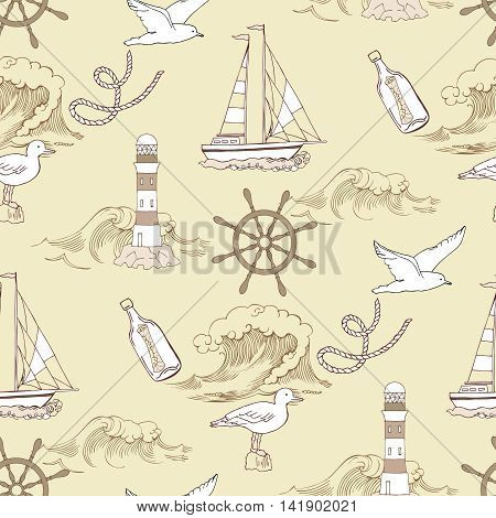 Nautical seamless pattern with ships and wheels  sea knots. Hand drawn elements for summer holidays.Travel, sea and ocean. Vector Illustration