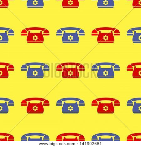 Seamless Retro Red Blue Phone Pattern. Silhouette of Old Telephone