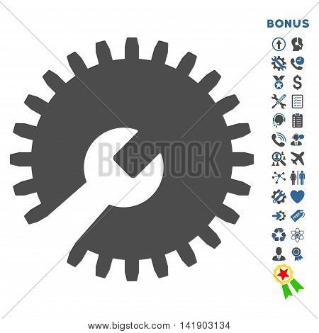 Gear Tools icon with bonus pictograms. Vector style is bicolor flat iconic symbol with rounded angles, cobalt and gray colors, white background.