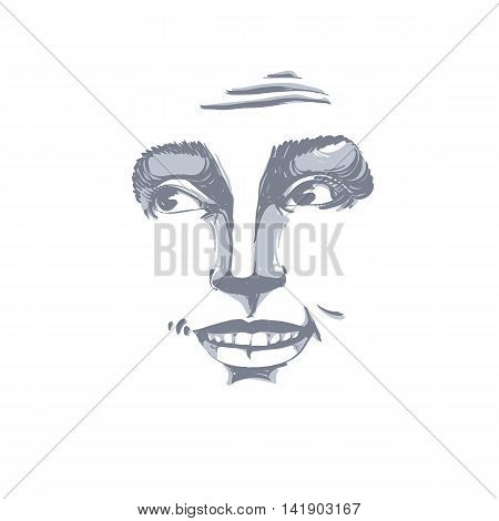 Monochrome vector hand-drawn image blameworthy young woman.