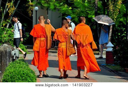 Chiang Mai Thailand - January 3 2013: Three youthful Buddhists monks wearing bright orange robes walking in the gardens at Wat Phra Singh *