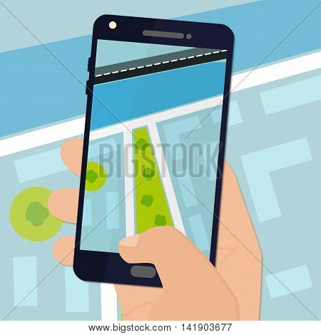Flat design hand holding smartphone with map on the screen. Vector illustration.
