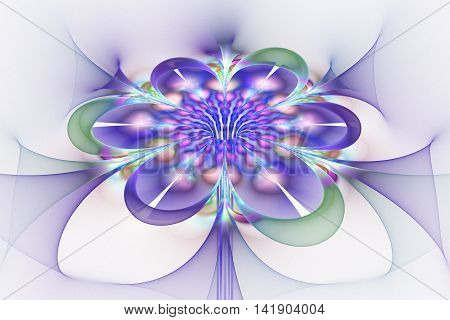 Abstract glowing colorful flower on white background. Fantasy pink blue purple and green fractal design for posters wallpapers postcards or t-shirts. Digital art. 3D rendering.