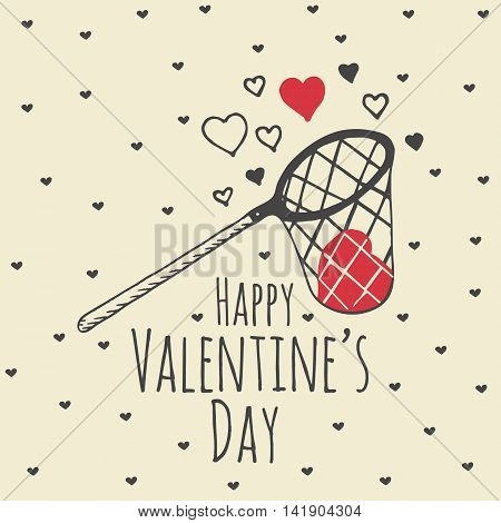 Valentines Day card with illustrated scoop-net and hearts. Vector illustrated scoop-net with heart on beige background.