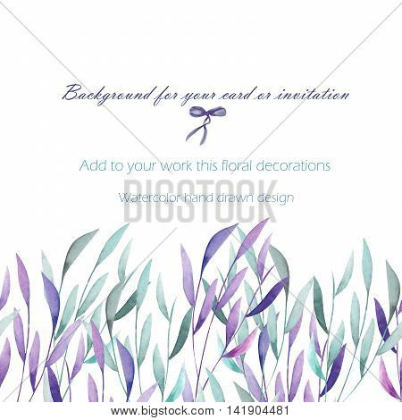 Background, template postcard with the watercolor green and purple branches, hand drawn on a white background, greeting card, decoration postcard or invitation