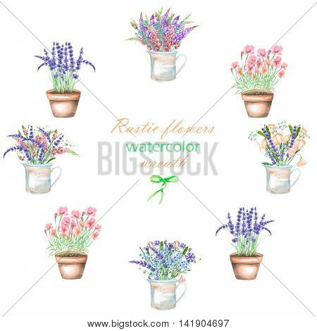 A wreath of illustrations with a bouquet of the beautiful wildflowers in a rustic jar and pots, isolated hand drawn in a watercolor on a white background