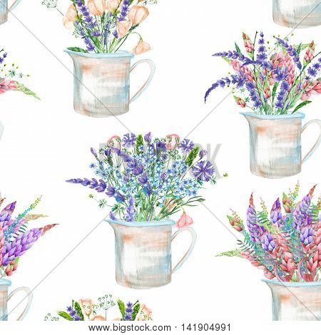 A seamless pattern with a bouquet of the beautiful wildflowers in a rustic jars, isolated hand drawn in a watercolor on a white background