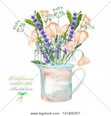 An illustration with a bouquet of the beautiful wildflowers, eustoma and lavender flowers in a rustic jar, isolated hand drawn in a watercolor on a white background