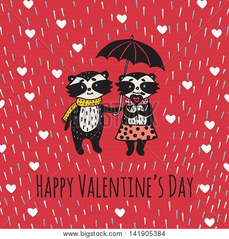 Valentines Day card with illustrated raccoon couple under umbrella. Vector illustrated colorful raccoon couple with umbrella on red background.