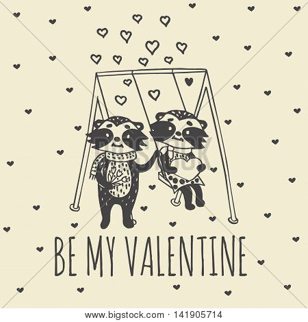 Valentines Day card with illustrated raccoon couple on the swing. Vector illustrated colorful raccoon couple on beige background.