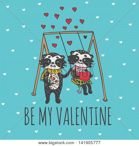 Valentines Day card with illustrated raccoon couple on the swing. Vector illustrated colorful raccoon couple on blue background.
