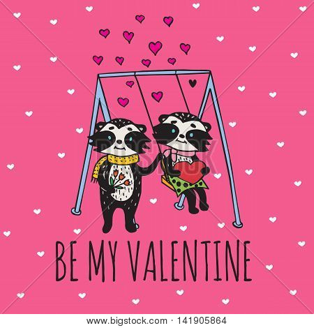 Valentines Day card with illustrated raccoon couple on the swing. Vector illustrated colorful raccoon couple on pink background.