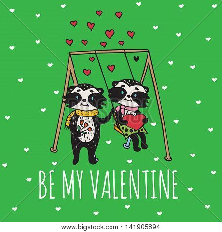 Valentines Day card with illustrated raccoon couple on the swing. Vector illustrated colorful raccoon couple on green background.