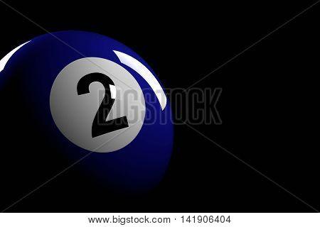 Pool Ball Number 2, 3D Rendering