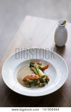 asian style prawns with grilled vegetables and mushroom sauce