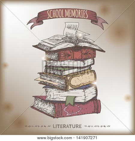 Color book stack hand drawn sketch placed on old paper background. School memories collection. Great for school, education, book shop, retro design.