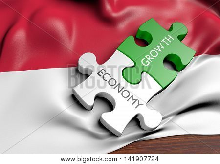 Indonesia economy and financial market growth concept, 3D rendering