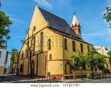 High dynamic range HDR St Leonhardskirche church in Frankfurt am Main Germany poster