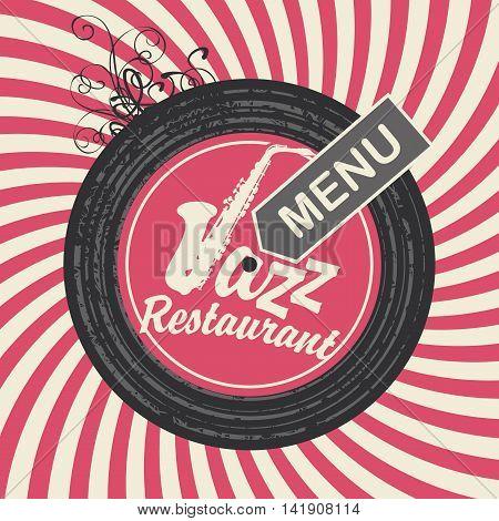 jazz restaurant menu with sax on vinyl in retro style