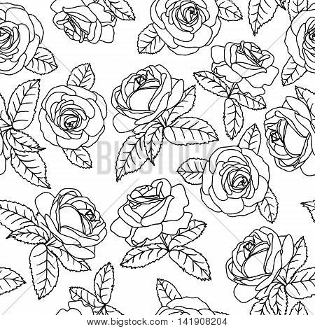 Seamless background with pink outline roses on white background