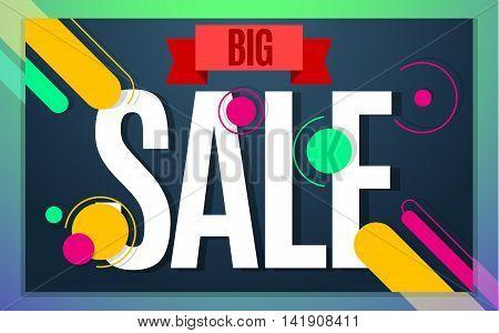 Big sale banner color design. Vector illustration template