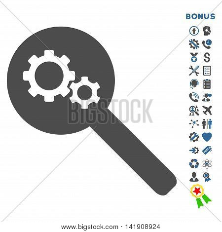 Search Tools icon with bonus pictograms. Vector style is bicolor flat iconic symbol with rounded angles, cobalt and gray colors, white background.