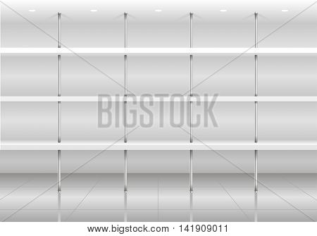 White shelves for the store or supermarket goods with chrome studs. Vector graphics