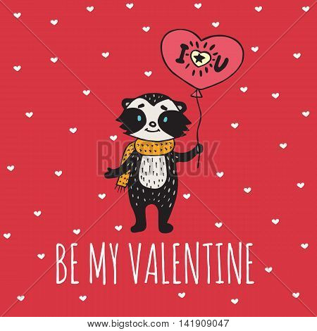 Valentines Day card with illustrated raccoon with balloon-heart. Vector illustrated colorful raccoon with balloon on red background.