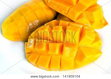 Mango Ripe With Nicely Cut Pieces Isolated On White