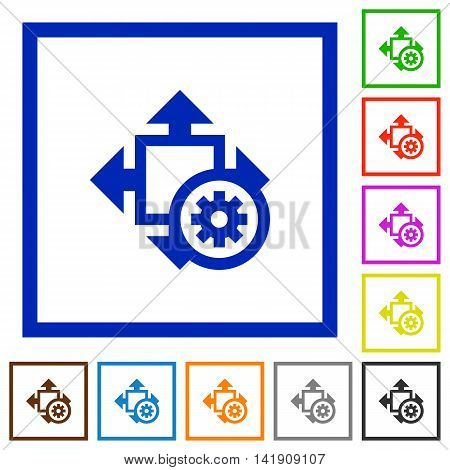 Set of color square framed Size settings flat icons