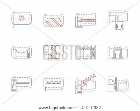 Concrete barriers, plastic and metal barricades. Equipment for blocking road, traffic control, railroad crossing, parking access and other samples. Flat line style vector icons collection.