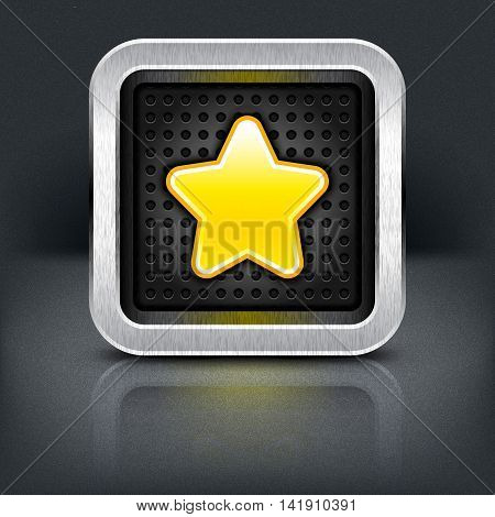 Yellow gold star icon with chrome metal frame. Rounded square button with perforation texture, black drop shadow and reflection on dark gray background. Vector illustration web design element 10 eps