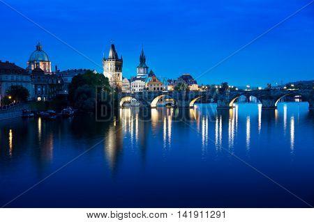 Charles bridge in sunset time, Prague , Czech Republic
