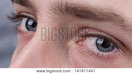 Macro image of human beautiful grey eyes