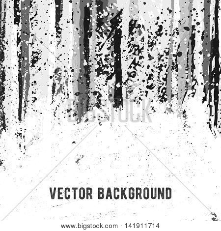Grunge style vector banner design template with blank space. Abstract artistic black and white color background