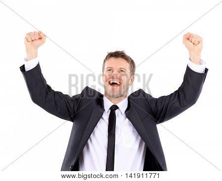 Lucky handsome man celebrating. Winner  laughing man
