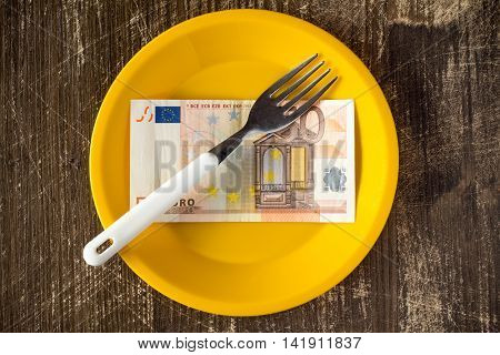 High price of food concept with platefifty euro and fork