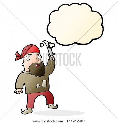 cartoon pirate with thought bubble