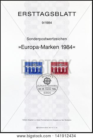 GERMANY - CIRCA 1984 : Cancelled First Day Sheet printed by Germany, that shows Europa CEPT stamps.