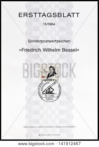 GERMANY - CIRCA 1984 : Cancelled First Day Sheet printed by Germany, that shows Friedrich Wilhelm Bessel.