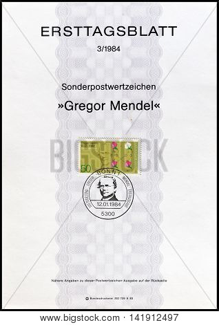 GERMANY - CIRCA 1984 : Cancelled First Day Sheet printed by Germany, that shows Gregor Mendel.