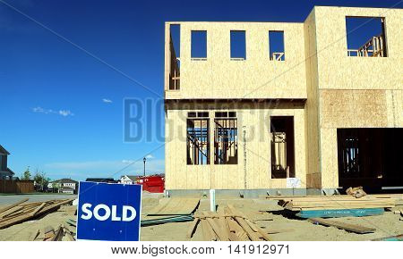 A new home is sold before construction has finished.