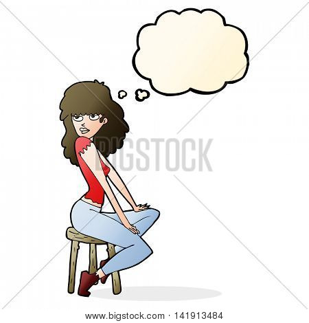 cartoon woman striking pose with thought bubble
